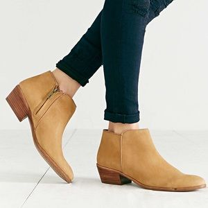 Sam Edelman tan suede leather petty ankle boots